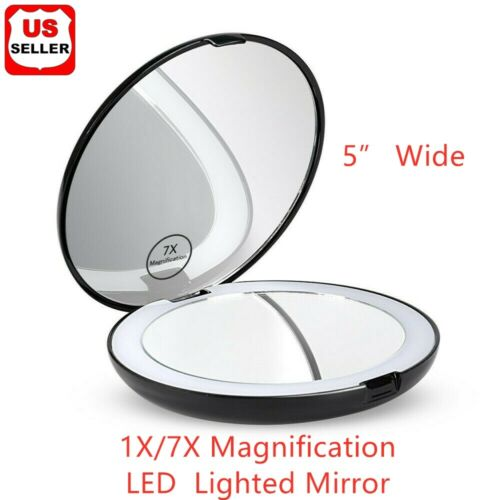 4.5 inch Makeup Compact Mirror Cosmetic Folding Portable Pocket LED Lights Lamps Health & Beauty