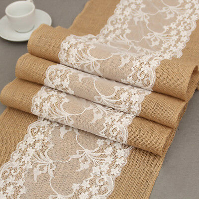 5 10 20 Rustic Burlap Hessian Lace Floral Table Runner Wedding Party Home Decor](Burlap Wedding Decor)
