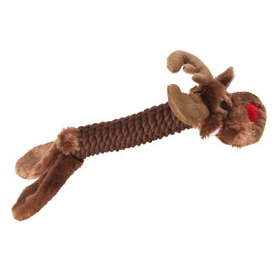 House of Paws Christmas Rope Reindeer Dog Toy | Rudolph Present Squeaky Medium