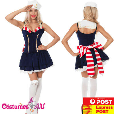 Navy Sailor Girl Costume Uniform Ladies Rockabilly Pin Up Womens Fancy Dress