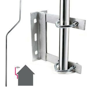 GALVANISED TV Aerial Wall Mounting Kit -Cranked Offset Pole/Mast Outdoor Bracket