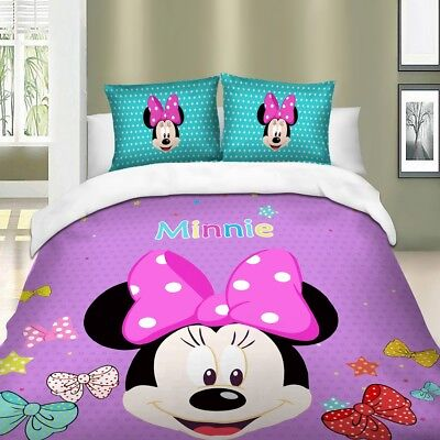 Minnie Mouse Duvet Cover Set Twin/Full/Queen/King Size Bedding Set Purple ()