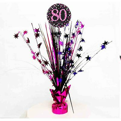80th Birthday Spray Centrepiece Table Decoration Black Pink Purple Age 80 Party](80th Birthday Centerpieces Decorations)