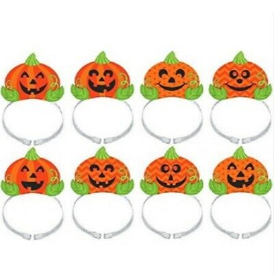 X 8 Papier Halloween Stirnbänder - Gruselig Orange - Halloween Stirnbänder