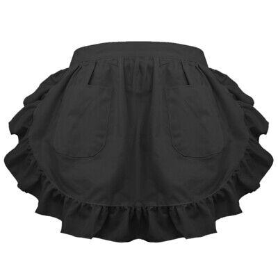 women vintage half waist ruffle apron