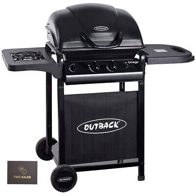 OUTBACK OMEGA 250 Gas BBQ Barbecue - 2 Burner With Side Hob - Black FREE DEL!