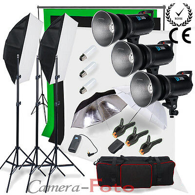 Godox 900W Studio Flash Lighting Kit Digital LED Cooling Fan 3 Background +Stand