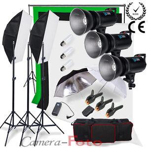 Godox 900W Studio Flash Lighting Kit Digital LED Cooling Fan 3 Background +Stand