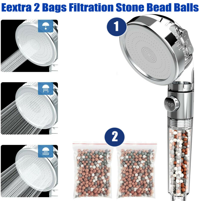 3 Mode High Pressure Shower Head Ionic Filtered Stone Stream Water Saving