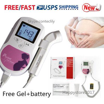 Usa Stock Baby Sound C Fetal Doppler 3mhz Probebaby Heart Monitor Gelbatteries