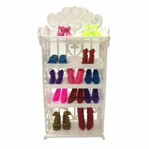12 Pair Doll Shoes Shoe Rack Colorful High Heels For Barbie Dolls 11.5 inch BJD