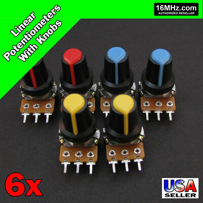 6x 100k Ohm Linear Taper Rotary Potentiometers B100k Pot W Black Knobs 6pcs U28