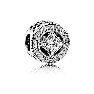 Authentic Pandora Sterling Silver Vintage Allure Clear CZ Bead 791970CZ