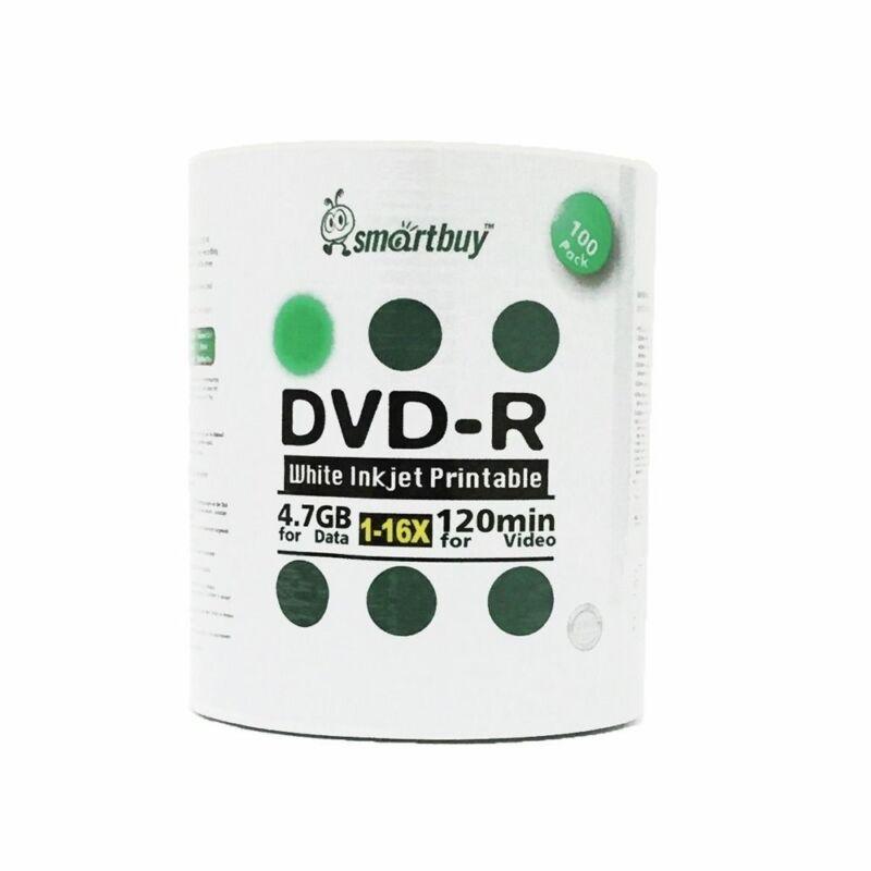 Smartbuy DVD-R 16X 4.7GB/120Min White Inkjet Hub Printable Blank Recordable Disc