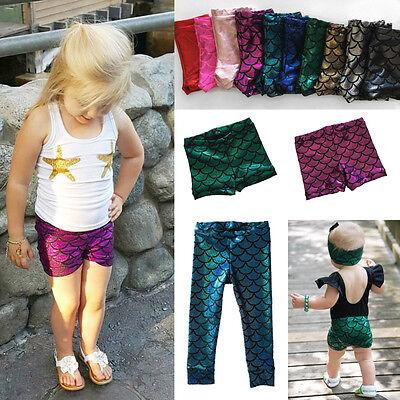 AU Stock Toddler Kids Baby Girls Fish Scale Mermaid Skinny Leggings Pants (Toddler Baby Scale)