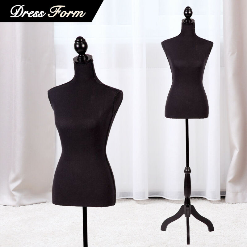 Female Mannequin Torso Dress Colthing Form Body Display w/ Tripod Stand Black
