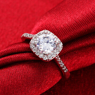 Pave 1.5 Cts Princess White Gold Plated Engagement Ring RS18 ITALY MADE