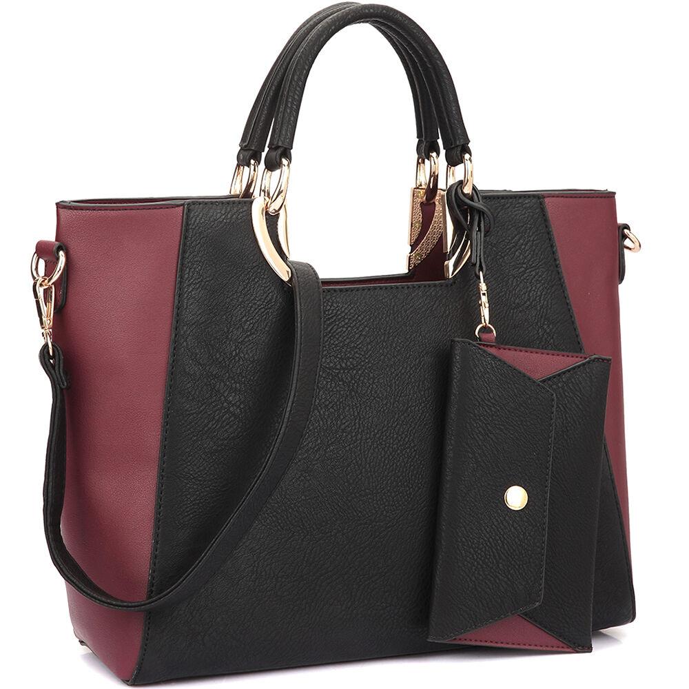 New Women Handbag Faux Leather Satchel Tote Bag Shoulder Bag