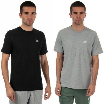 Mens adidas Originals Essential Short sleeve cotton T-Shirts in grey and black