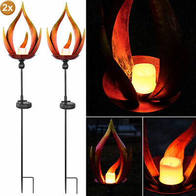 2x LED Solar Plug Lights Flame Effect Garden Path Terraces Ground Spike Lamps