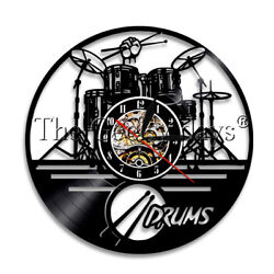 Drums Wall Clock Musical Instrument Vinyl Record Wall Clock Watch Drummer Gift