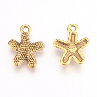 Starfish Charms Pendants Antiqued Gold Nautical Charms Ocean Charms 10pcs (Nautical Starfish Charms)
