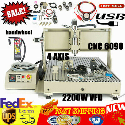 Usb Cnc 6090 Router 4axis Engraver Wood Carving Milling Machine 2.2kwcontroller