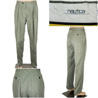 NAUTICA Men's 34 x 34(33) Green Khaki Pleated & Cuffed Pants Chinos GUC