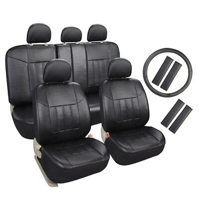 Auto Seat Covers with Steering Wheel Cover, Seat Belt Pads - Universal Fit Black