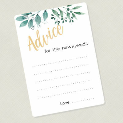 50 Wedding Game Cards, Advice for the Newlyweds Cards, Greenry Advice Cards