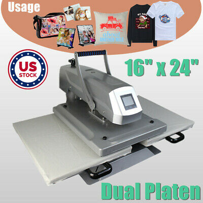16x24 Manual Dual Platen Sublimation Heat Press Machine For T-shirt Cloth Bag