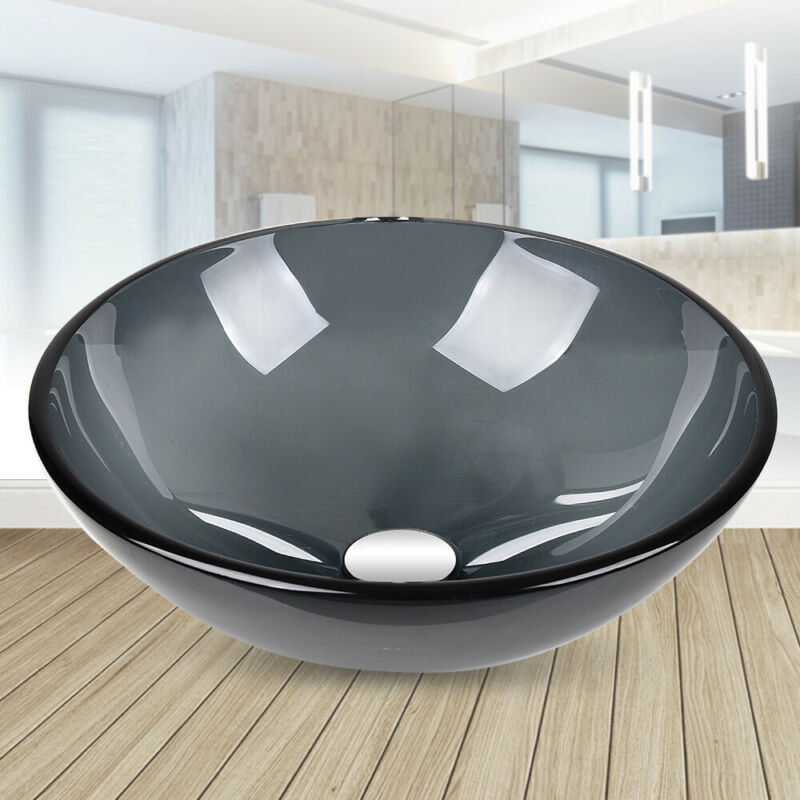Bathroom Vessel Sink Glass Round Wash Basin Countertop Bowl Pop Up Drain Gray