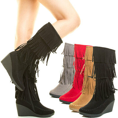 New Women Moccasin 3 Layer Fringe Tassel Mid Calf Tall Knee High Wedge Heel Boot
