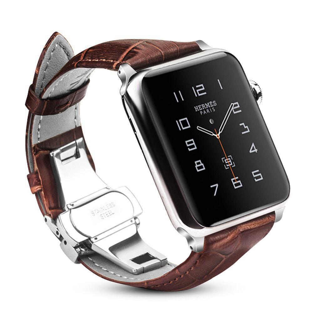 Für Apple Watch 42mm Series 3 / 2 /1 Armband Uhrarmband aus Echtleder Ersatzband