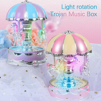 LED 3Horses Carousel Music Box Toy Musical Girl Boy Baby Kid Birthday Gift Toy Q Baby Carousel Music Box