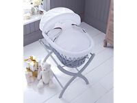 Grey izziwotnot Moses basket (used) includes mattress and white izziwotnot stand.