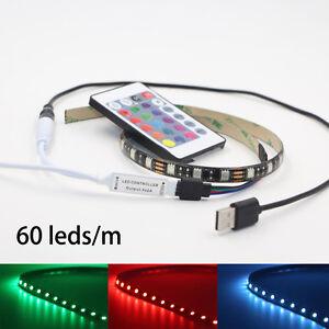 50CM-5V-5050-rgb-led-bande-lumiere-couleur-changeante-usb-tv-pc-dos-mood-lighting