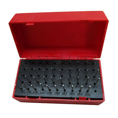 Set Of 50 Pcs Steel Plus Plug Gages .011 - .060 Inch With Plastic Case