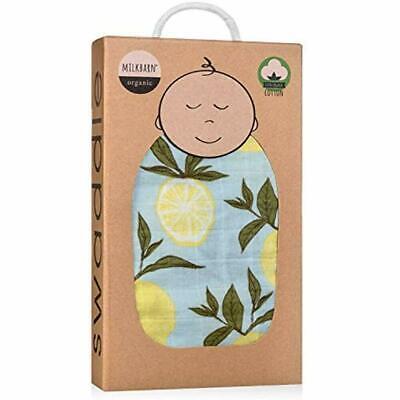 Milkbarn Organic Toddler Blankets Muslin Baby Swaddle Blue Lemon EUC