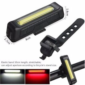 SALE 20% (2216) NEW, 100LM LED USB Rechargeable FRONT REAR BIKE BICYCLE FLASHLIGHT LIGHT LAMP+MOUNT
