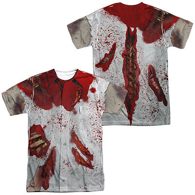 RIPPED ZOMBIE Halloween Costume 2-Sided Sublimated All Over Print Poly T-Shirt (Halloween Ripped Shirt)