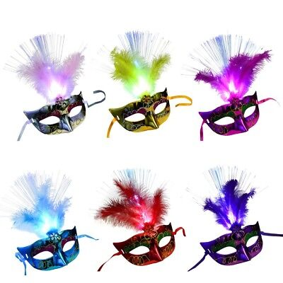 Women Venetian LED Fiber Mask Masquerade Fancy Dress Party Princess Feather Mask](Masquerade Dresses For Women)