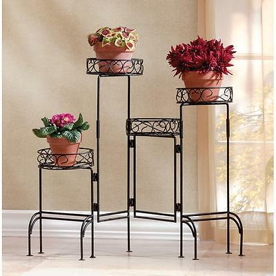 """FOUR TIER PLANT STAND SCREEN - 28 3/4"""" HIGH - BLACK - METAL"""
