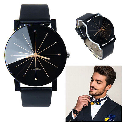 Men Quartz Dial Stainless Steel Watch Leather Convex Large Belt Round Boy Gift