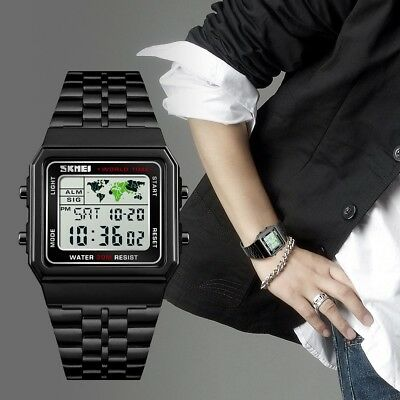 Waterproof SKMEI Mens Stainless Steel LED Digital Sport Quartz Wrist Watch - Digital Stainless Steel Watch