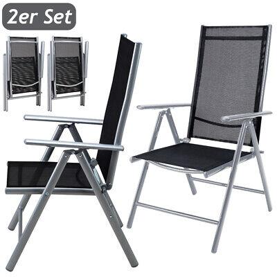 2x Sillas plegables con respaldo alto y ajustable de Aluminio jardín sin...