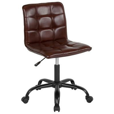 Home And Office Armless Task Chair With Tufted Backseat In Brown Leathersoft