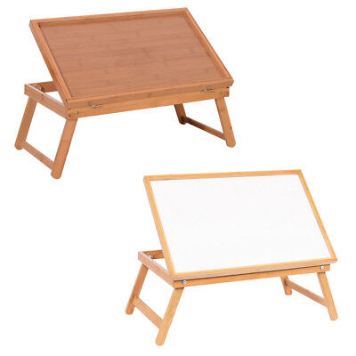 Adjustable Wood Bed Tray Lap Desk Serving Table Food Dinner White/Wood Plank