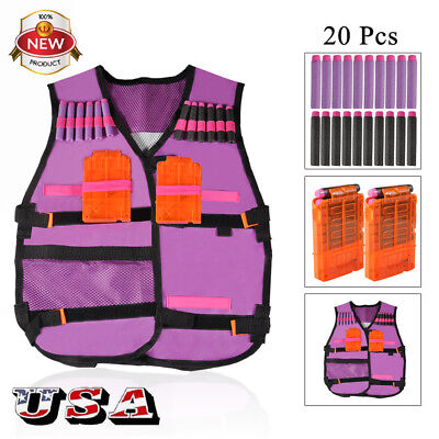 Elite Tactical Vest Kit For Nerf N-strike Series Toy+ 200 Soft Foam +Clip Toy US