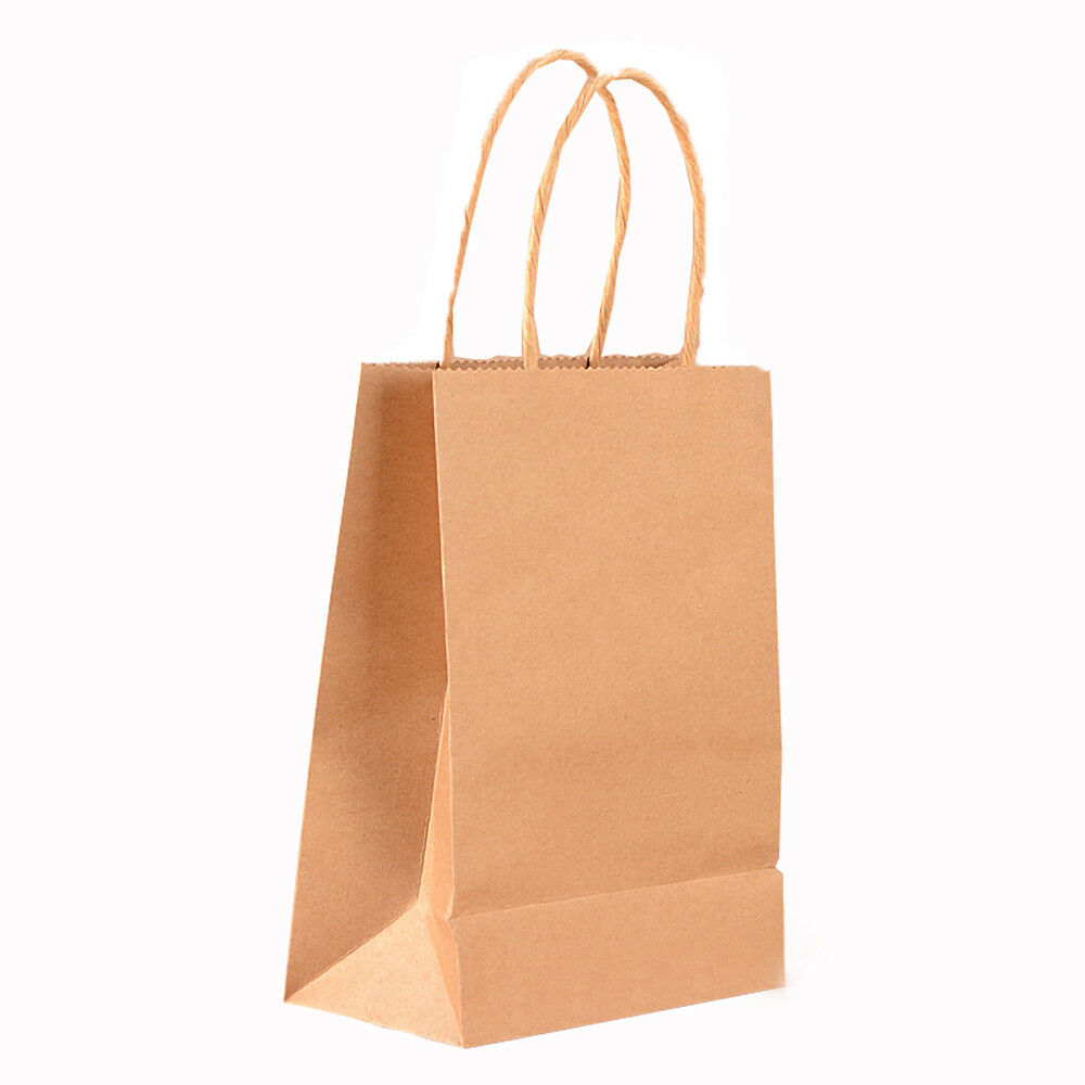 1pcs Kraft Paper Party Bag with Handles Recyclable Loot Bag Tote Wedding Party